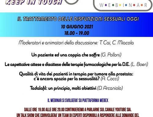 """Relatore al Webinar """"Keep in touch"""" organizzato dalla Società Italiana di Andrologia"""